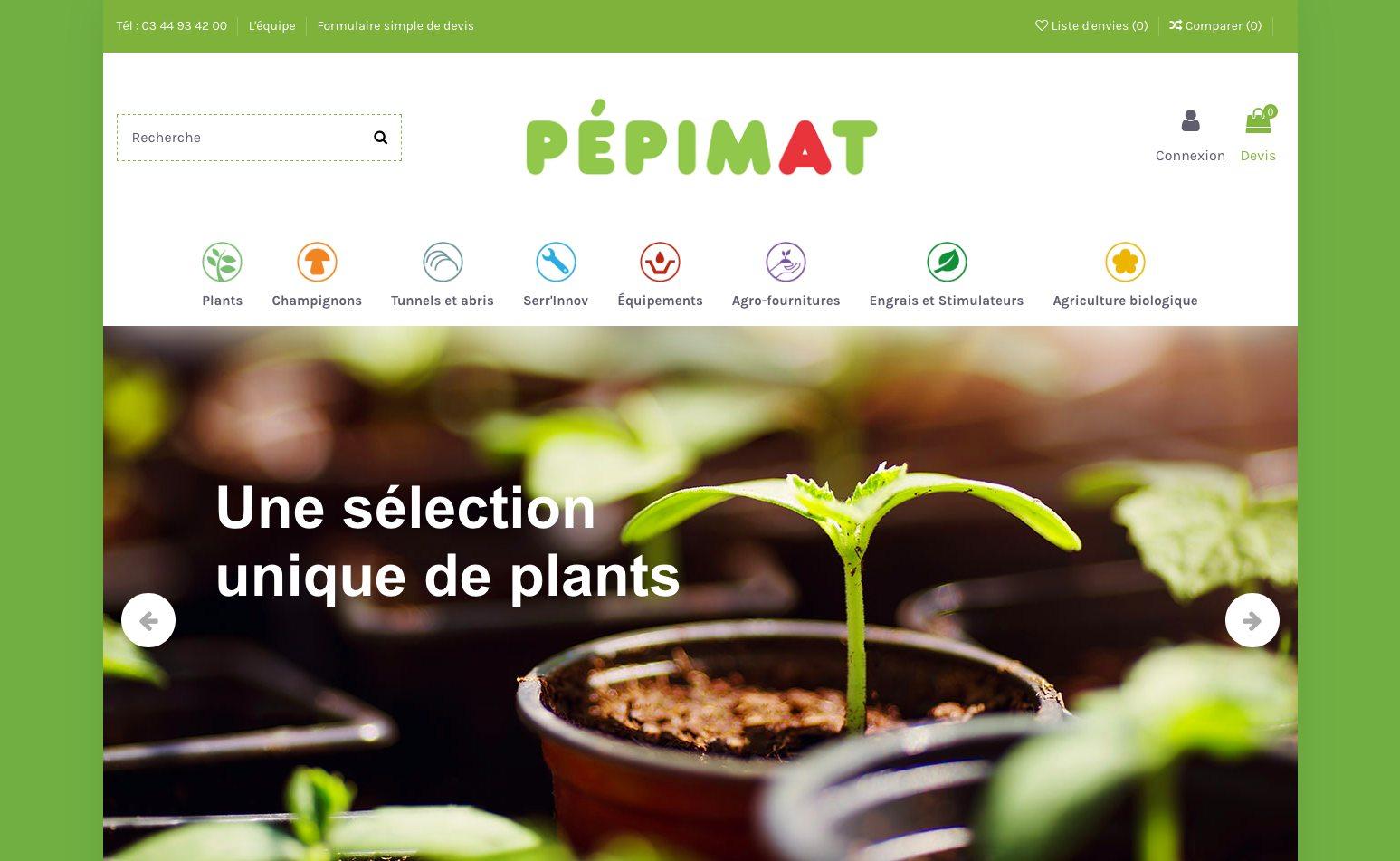 Pepimat, Site Ecommerce catalogue avec demande de devis