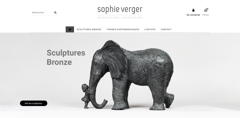 Site Ecommerce Galerie d'Art en Ligne de Sophie Verger Sculptures